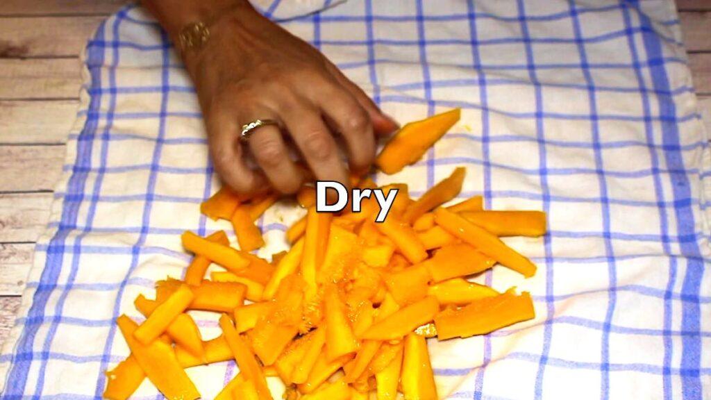 Keto Pumpkin Fries getting fully dry before baking