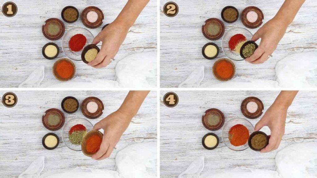 taco seasoning keto adding all spices into a glass bowl