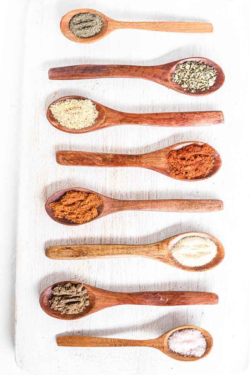 best keto taco seasoning inside wooden spoons