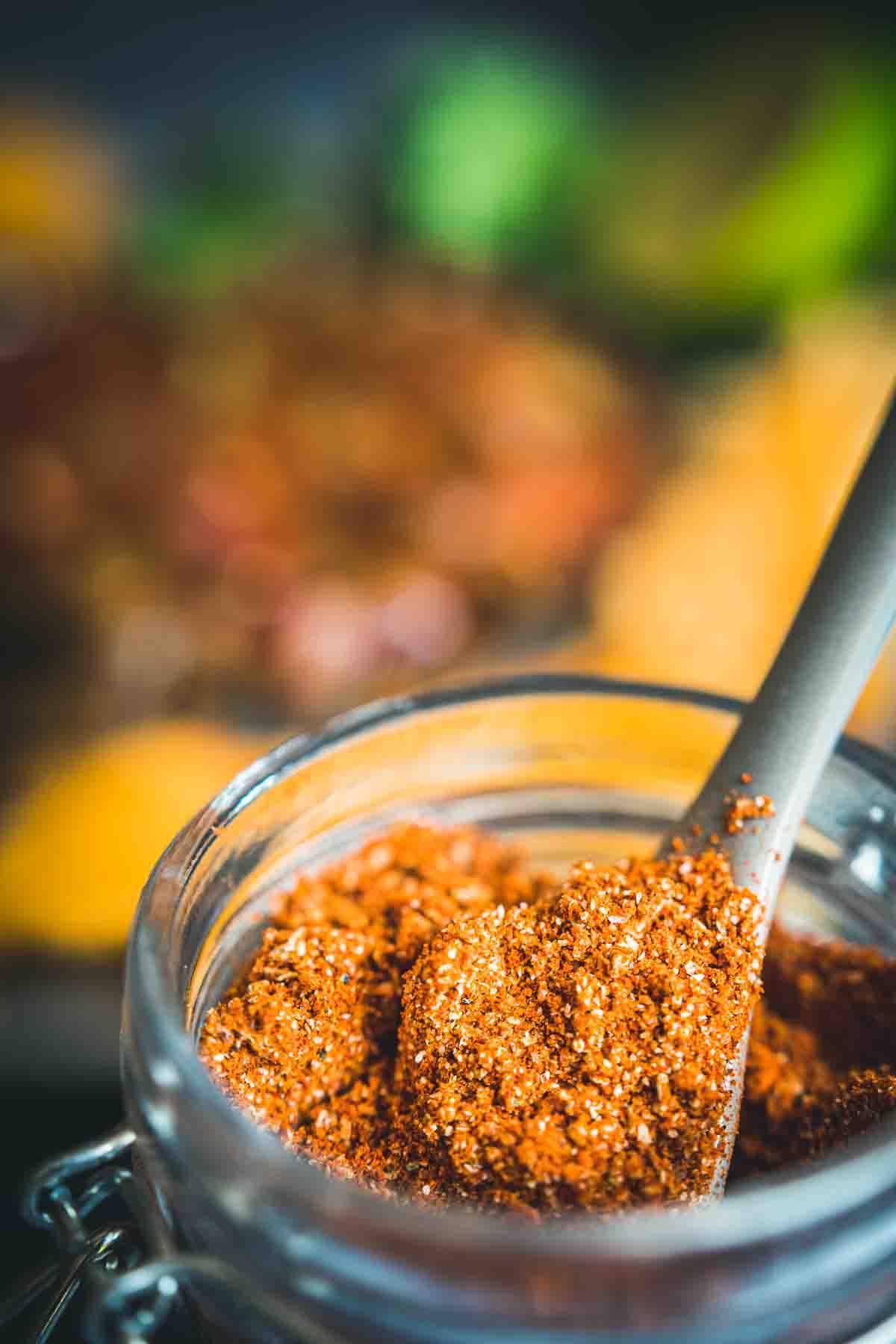 Gluten Free Keto Taco Seasoning in a glass jar