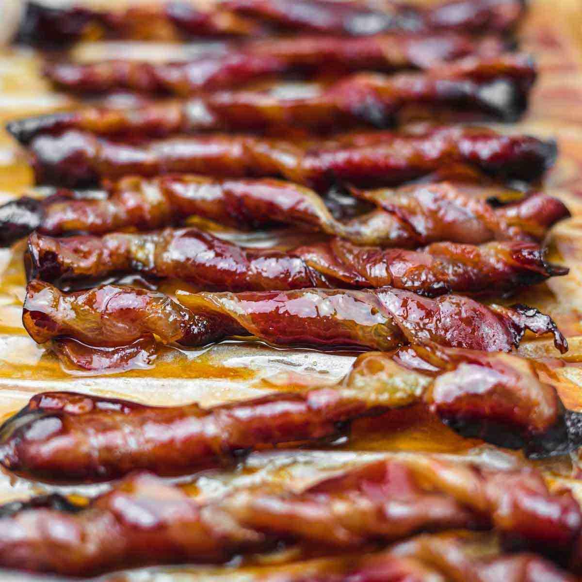 Brown Sugar Keto Bacon Twists on a sheet