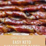 Keto Candied Bacon Sticks spread on a baking sheet