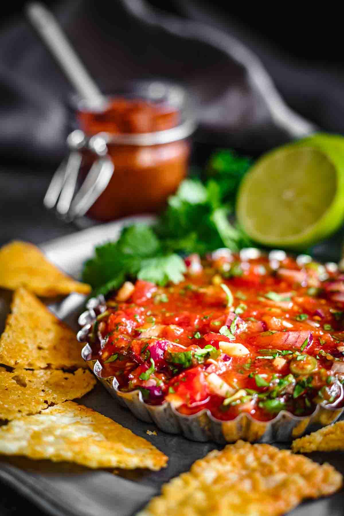 Gluten Free Salsa served in a metal bowl
