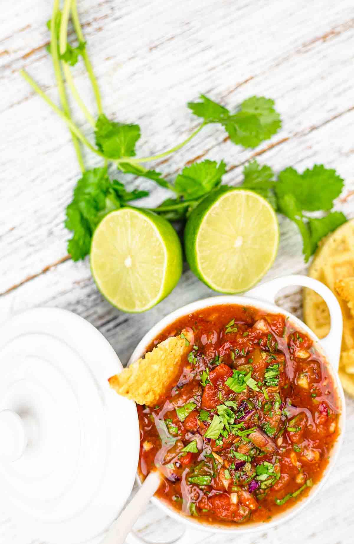 Best Keto Salsa Recipe served in a white pot