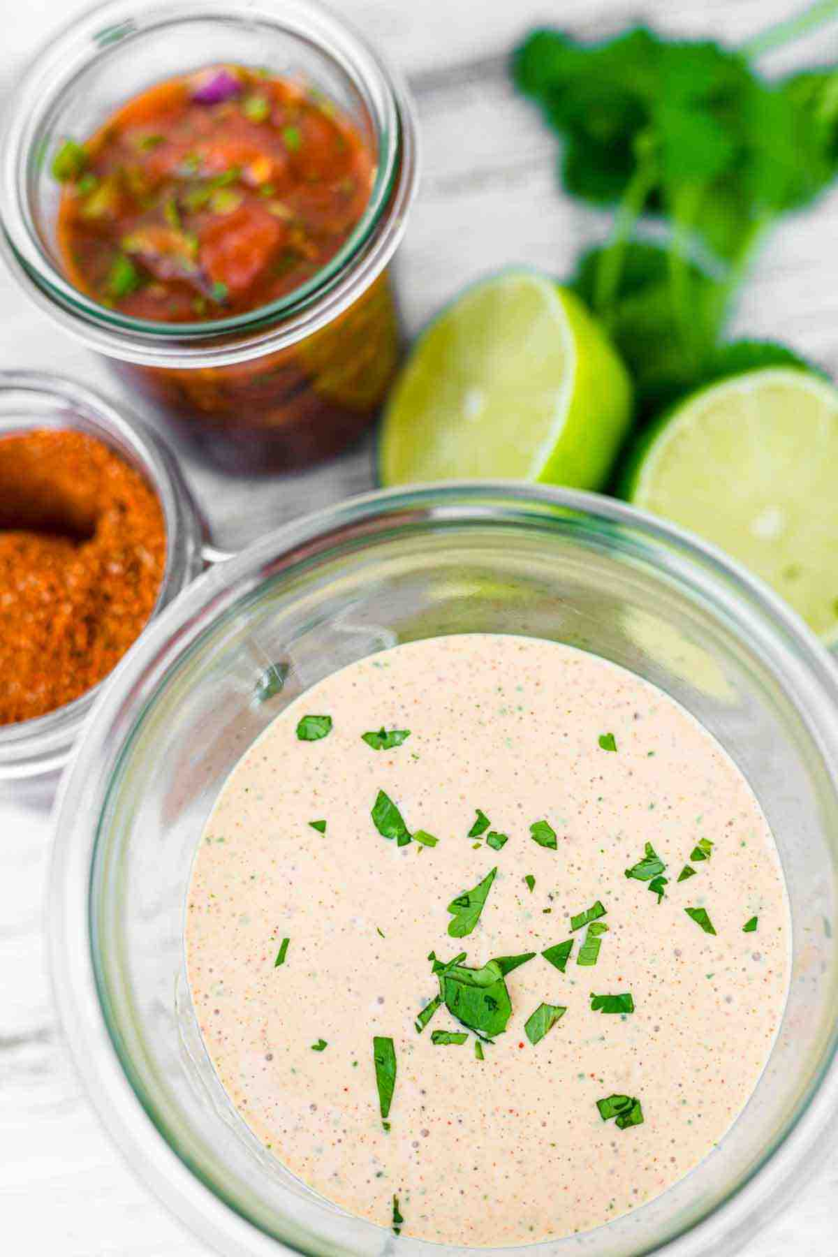 Keto Dressing in a glass jar with salsa on the side