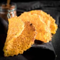 Low Carb Taco Shells on a dark brown napkin